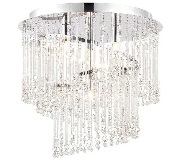 Camille 4 Light Flush Ceiling Light Glass Rods & Beads Chrome