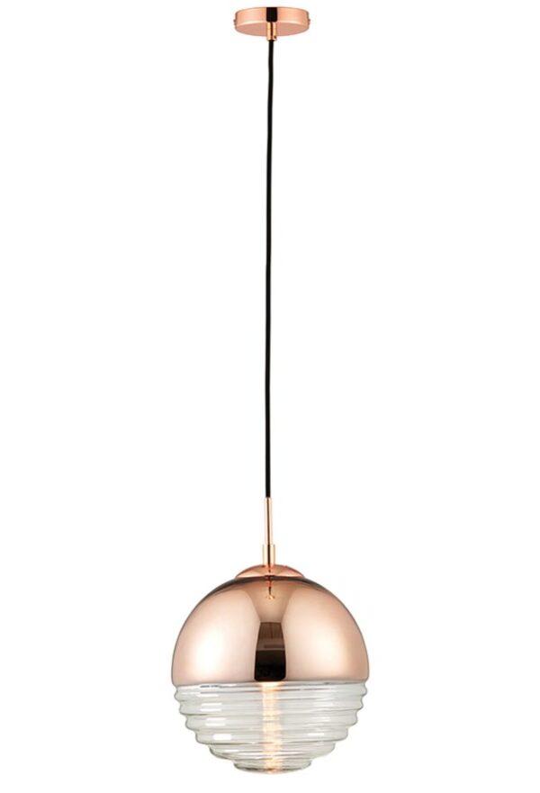 Paloma 1 Light Glass Pendant Ceiling Light Polished Copper