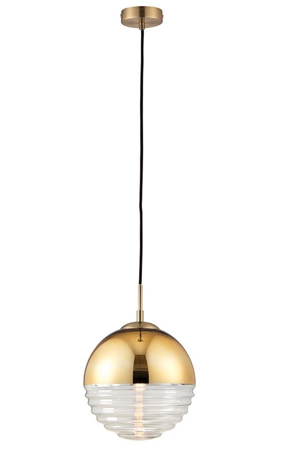 Paloma 1 Light Glass Pendant Ceiling Light Bright Gold