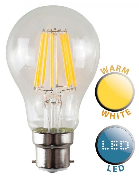 BC/B22 Filament 6w LED GLS Light Bulb Warm White 660 Lumen