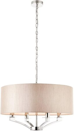 Vienna Polished Nickel 4 Light Beige Shade Candelabra Pendant