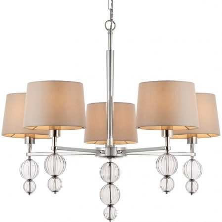 Darlaston Polished Nickel 5 Light Chandelier With Silk Shades