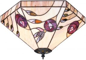 Damselfly Flush 2 Lamp Mackintosh Rose Tiffany Ceiling Light
