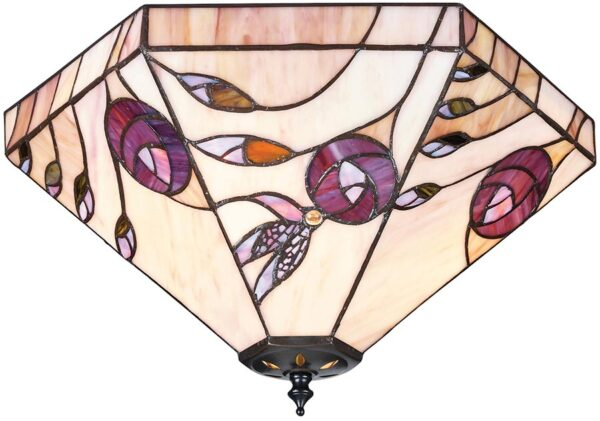 Damselfly Flush 2 Lamp Mackintosh Rose Tiffany Ceiling Light
