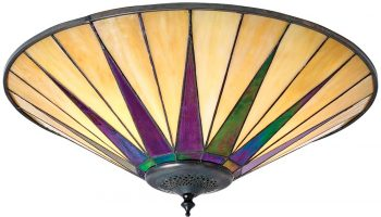 Dark Star Tiffany Large 2 Lamp Flush Art Deco Style Ceiling Light