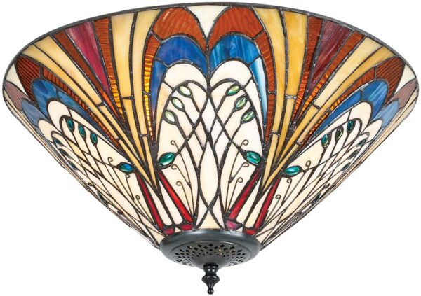 Hector Medium Art Nouveau Style 2 Lamp Flush Tiffany Light