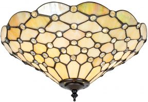 Pearl Iridescent 2 Lamp Medium Flush Tiffany Light