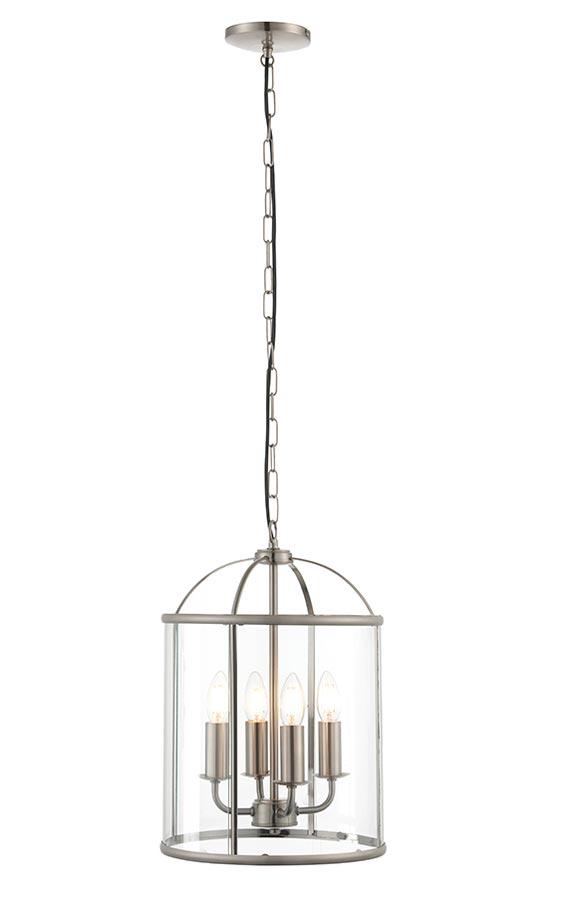 Lambeth Medium 4 Light Hanging Ceiling Lantern Satin Nickel