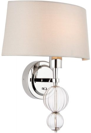 Darlaston Polished Nickel Wall Washer Light With Silk Shade