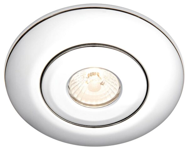 Converse fixed downlight converter for large holes in polished chrome