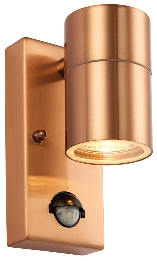 Palin Copper Finish Outdoor Wall Down Light With PIR Sensor Universal Lighting