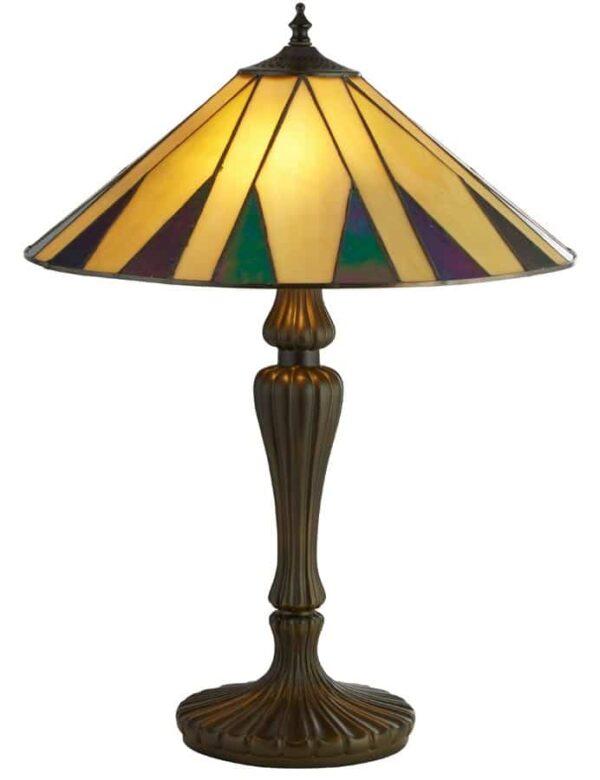 Charleston 2 light Tiffany table lamp with ridged resin base
