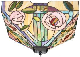 Willow Mackintosh Rose Large 2 Light Flush Tiffany Lamp