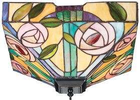 Willow Mackintosh Rose Medium 2 Light Flush Tiffany Lamp