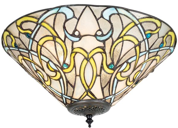 Dauphine Art Nouveau 2 Lamp Flush Tiffany Ceiling Light