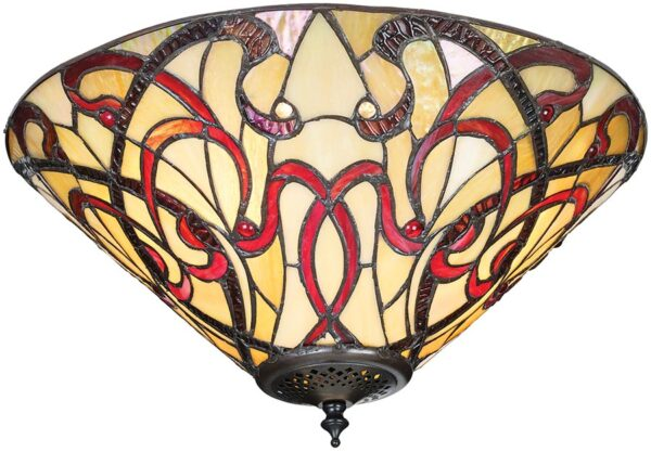 Ruban Art Nouveau Style Medium Flush 2 Light Tiffany Lamp