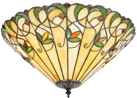 Jamelia Large 3 Lamp Art Nouveau Style Flush Tiffany Light