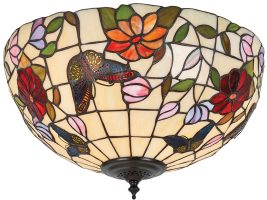 Butterfly Medium Floral 2 Light Flush Tiffany Ceiling Lamp