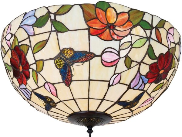 Butterfly Large Floral 2 Light Flush Tiffany Ceiling Lamp
