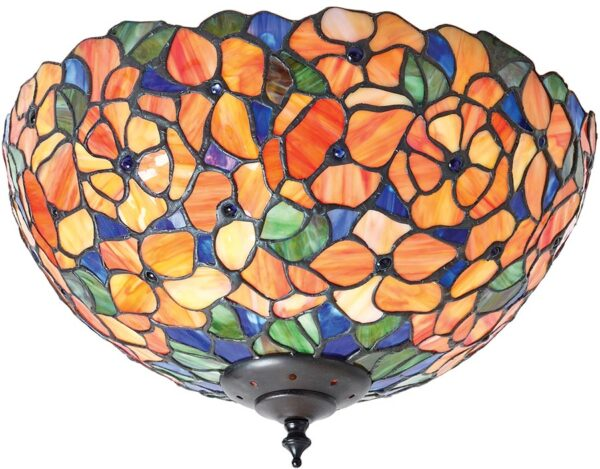 Josette Medium Floral 2 Light Traditional Flush Tiffany Lamp