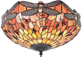 Flame Dragonfly Medium 2 Lamp Flush Tiffany Ceiling Light