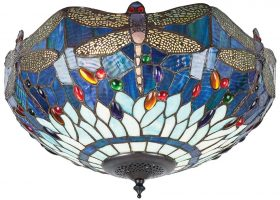Blue Dragonfly Medium 2 Lamp Flush Tiffany Ceiling Light