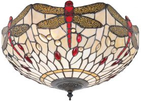 Beige Dragonfly Medium 2 Lamp Flush Tiffany Ceiling Light