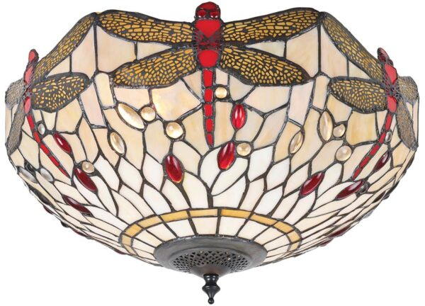 Beige Dragonfly Medium 2 Lamp Flush Tiffany Ceiling Light