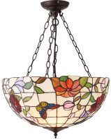 Butterfly Large Floral 3 Light Inverted Tiffany Uplighter Pendant