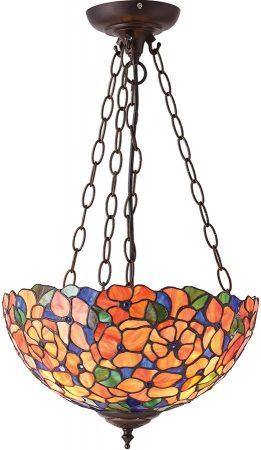 Josette Medium Floral 3 Light Traditional Tiffany Pendant Uplighter