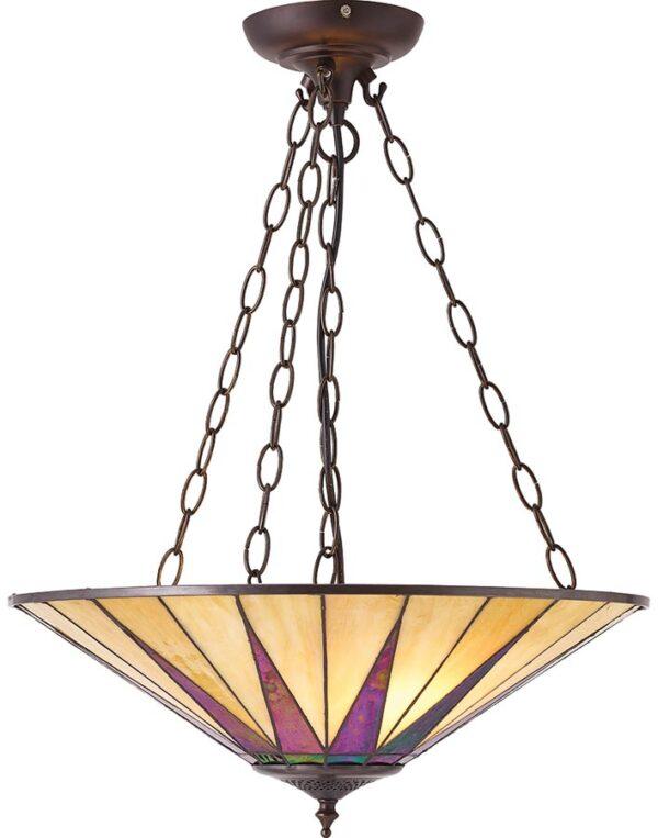 Dark Star Large Tiffany 3 Light Art Deco Pendant Uplighter