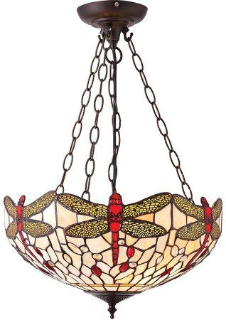 Beige Dragonfly Medium 3 Light Tiffany Uplighter Pendant