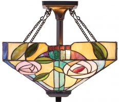 Willow Mackintosh Rose Medium 2 Light Semi Flush Tiffany Lamp