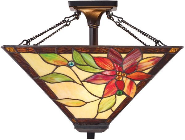 Lelani Medium Floral 2 Light Semi Flush Traditional Tiffany Lamp