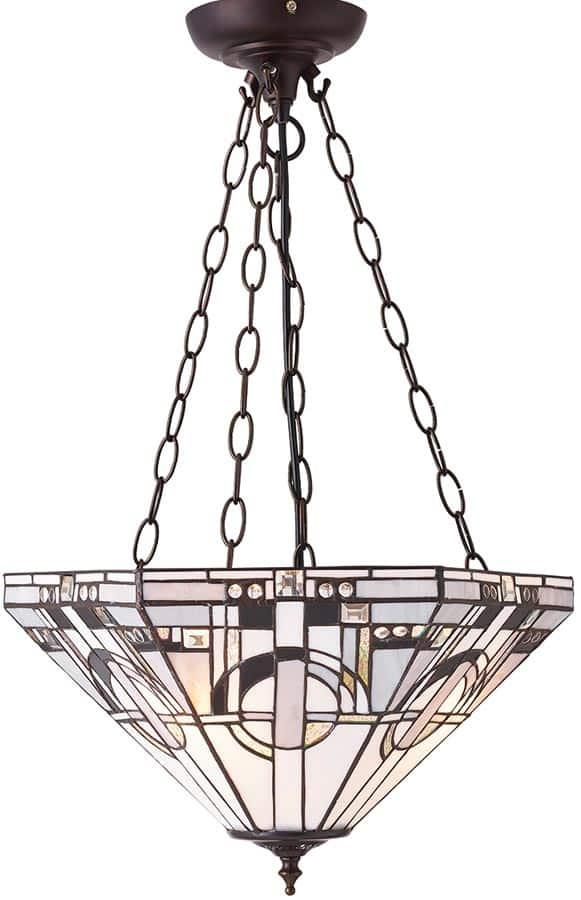 Metropolitan Medium Art Deco 3 Light Inverted Tiffany Pendant
