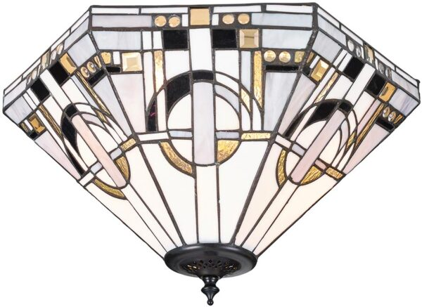 Metropolitan Medium Art Deco Style Flush 2 Lamp Tiffany Light