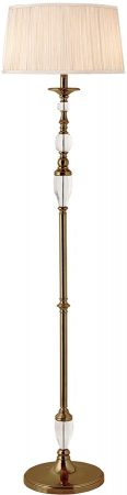 Polina Antique Brass Crystal Floor Lamp With Beige Shade