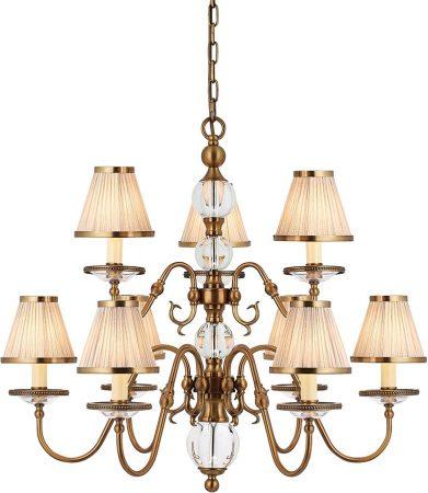 Tilburg Antique Brass 9 Light Chandelier With Beige Shades