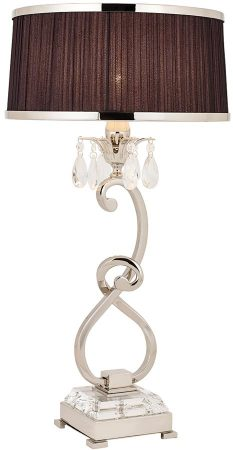 Oksana Nickel Medium Table Lamp Crystal Drops Black Shade