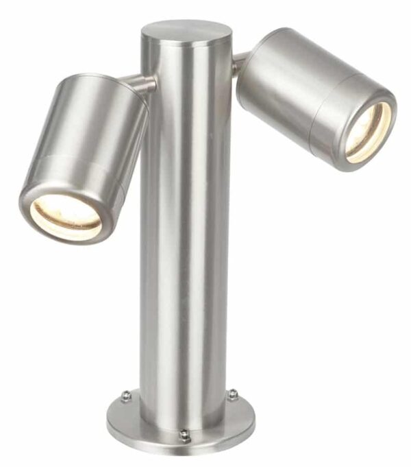 Atlantis outdoor 2 light short post light in 316 stainless steel