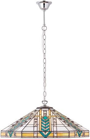 Lloyd Polished Aluminium Art Deco Style 3 Light Tiffany Pendant