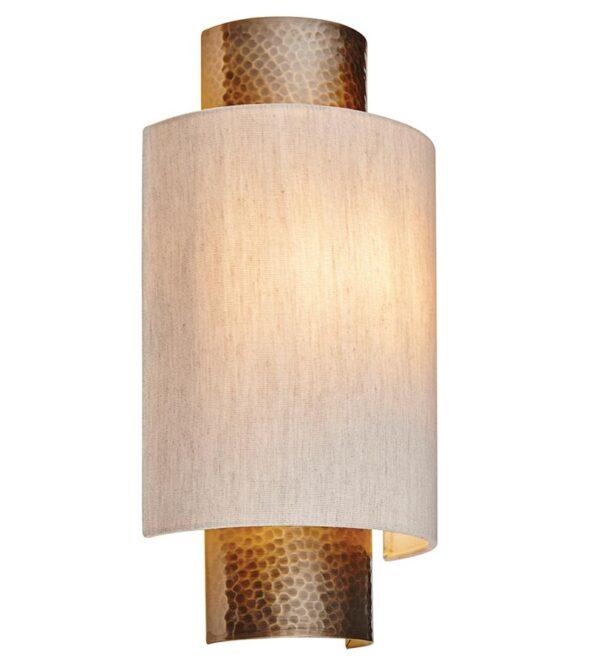 Indara 1 Light Wall Light Hammered Bronze Natural Linen Shade