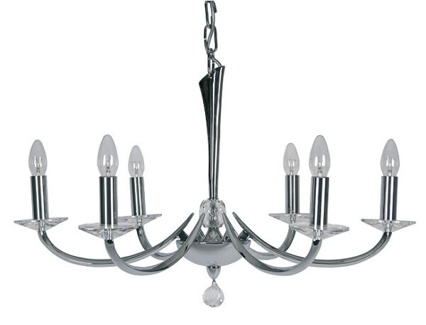 Bahia Contemporary Chrome and Crystal Chandelier