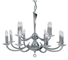 Bahia Large 12 Light Chrome And Crystal Tiered Chandelier