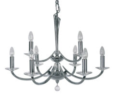 Bahia 9 Light Chrome And Crystal Tiered Chandelier