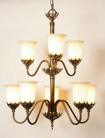 Grand Solid Brass 8 Light Feature Period Chandelier