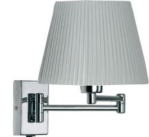 Armada Double Swing Arm Wall Light Switch Polished Chrome Pleated Shade