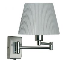 Armada Double Swing Arm Wall Light Switch Antique Chrome Pleated Shade