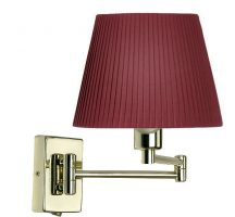 Armada Double Swing Arm Wall Light Switch Polished Brass Pleated Shade