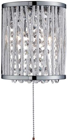 Elise 2 Light Switched Wall light Chrome Crystal Diamond Cut Tubes